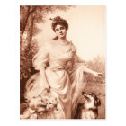 Vintage Victorian Woman w Border Collie Dog Retro Postcard