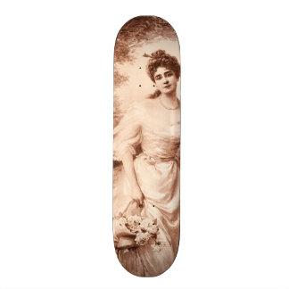 Vintage Victorian Woman w Border Collie Dog Retro Skateboards