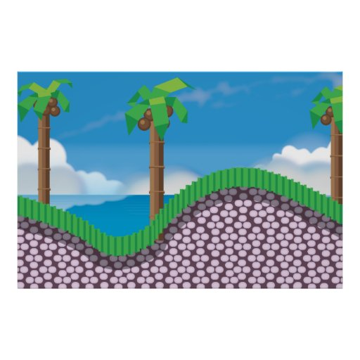 Vintage Video Game Palm Trees. Posters