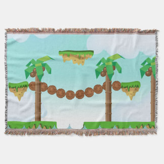 Vintage Video Game Palm Trees. Throw Blanket