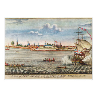 Vintage View of Ft. George with New York City 5x7 Paper Invitation Card