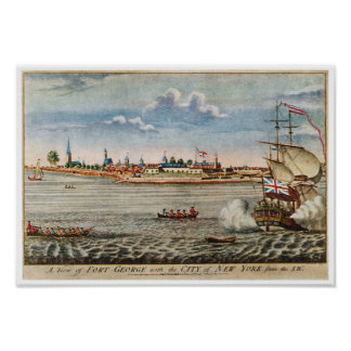 Vintage View of Ft George with New York City Print