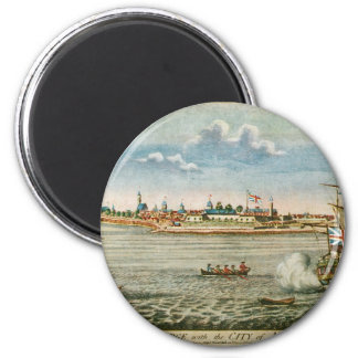 Vintage View of the City of New York from the SW 6 Cm Round Magnet