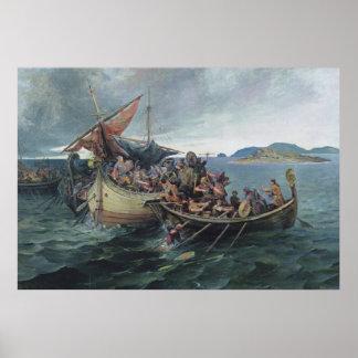 Vintage Viking Naval Battle Artwork Poster