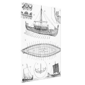 Vintage Viking Naval Ship History and Diagram Canvas Print