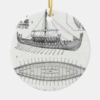 Vintage Viking Naval Ship History and Diagram Christmas Ornament