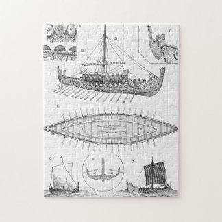 Vintage Viking Naval Ship History and Diagram Jigsaw Puzzle