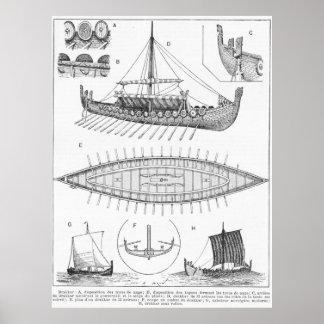 Vintage Viking Naval Ship History and Diagram Poster