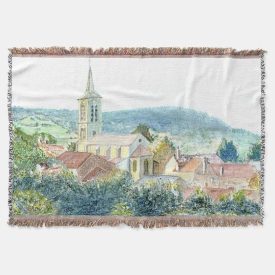 Vintage Village Scene Throw