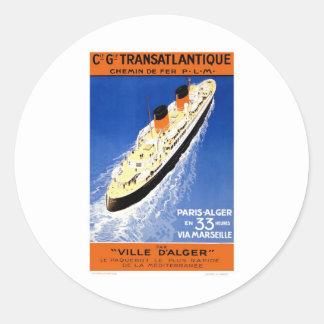 Vintage Ville D'Alger Classic Round Sticker