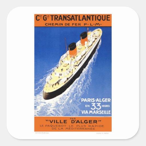 Vintage Ville D'Alger Square Stickers