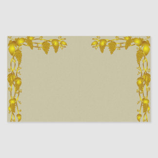 Vintage Vine and Grapes Gold Border Sticker