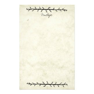 Vintage Vine Border Old Book Paper with Name Personalised Stationery