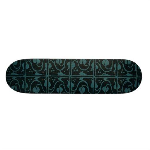 Vintage Vines Teal Black Skateboard