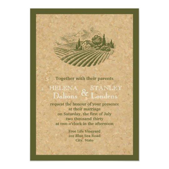 Vintage vineyard and cork beige, red wedding card