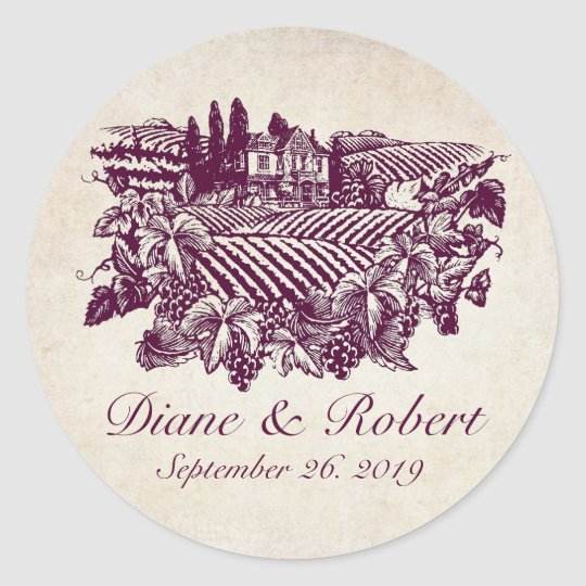 Vintage Vineyard Winery Burgundy Custom Wedding Round Sticker
