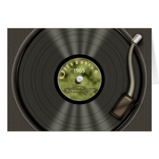 Vintage Vinyl Record (green) Card