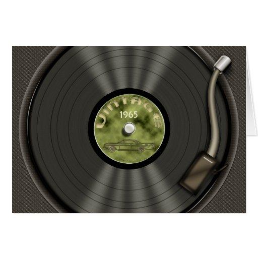 Vintage Vinyl Record (green) Greeting Card