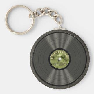 Vintage Vinyl Record (green) Keychain