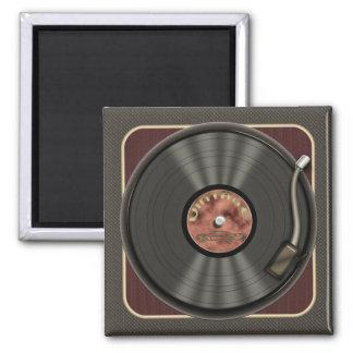 Vintage Vinyl Record Square Magnet