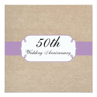 Vintage Violet and Beige Burlap Anniversary Party 13 Cm X 13 Cm Square Invitation Card