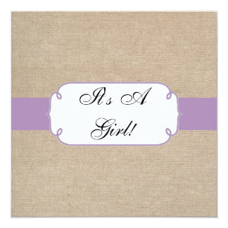 Vintage Violet and Beige Burlap Baby Shower 13 Cm X 13 Cm Square Invitation Card