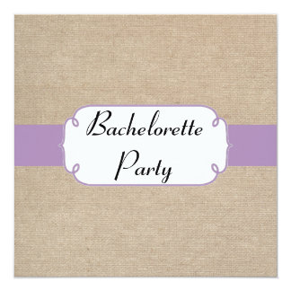 Vintage Violet and Beige Burlap Bachelorette Party 13 Cm X 13 Cm Square Invitation Card