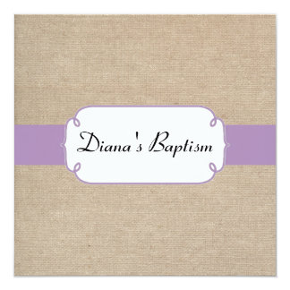 Vintage Violet and Beige Burlap Baptism Invitation