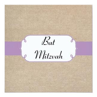 Vintage Violet and Beige Burlap Bat Mitzvah Invite