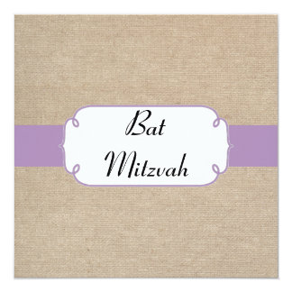 Vintage Violet and Beige Burlap Bat Mitzvah Invite