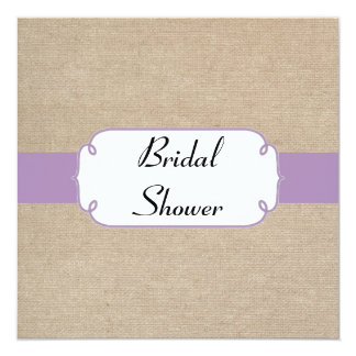 Vintage Violet and Beige Burlap Bridal Shower 13 Cm X 13 Cm Square Invitation Card