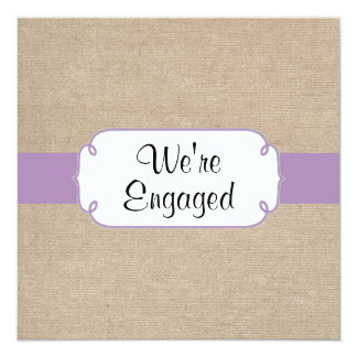Vintage Violet and Beige Burlap Engagement Party 13 Cm X 13 Cm Square Invitation Card