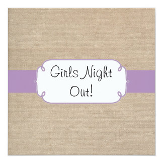 Vintage Violet and Beige Burlap Girls Night Out 13 Cm X 13 Cm Square Invitation Card