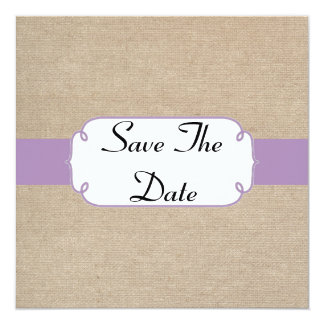 Vintage Violet and Beige Burlap Save The Date 13 Cm X 13 Cm Square Invitation Card