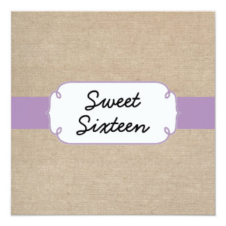 Vintage Violet and Beige Burlap Sweet Sixteen 13 Cm X 13 Cm Square Invitation Card