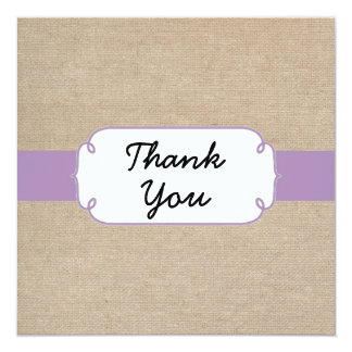 Vintage Violet and Beige Burlap Thank You Card 13 Cm X 13 Cm Square Invitation Card
