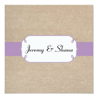 Vintage Violet and Beige Burlap Wedding Invitation
