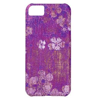 Vintage violet floral grunge wall background iPhone 5C case