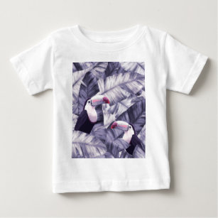 Vintage Violet Toucan Tropical Banana Leaves Baby T-Shirt