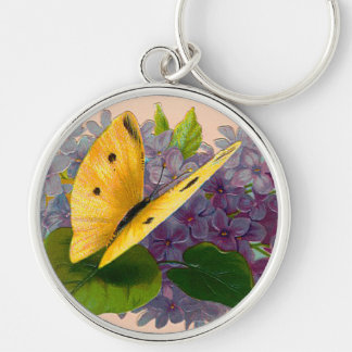 Vintage Violets and Butterfly Silver-Colored Round Key Ring