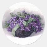 Vintage Violets Basket Sticker