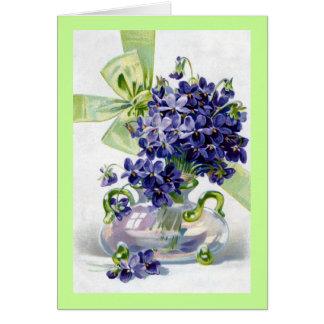 Vintage Violets Greetings Card