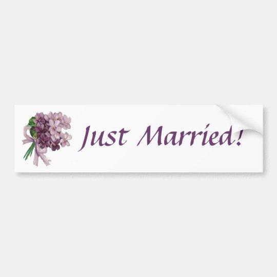Vintage Violets Just Married Bumper Sticker