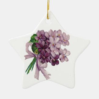 Vintage Violets Nosegay Bouquet Star Ornament