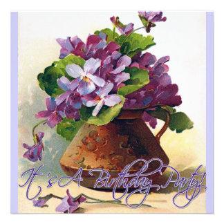 Vintage Violets Still Life Birthday Invitation