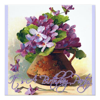 Vintage Violets Still Life Birthday Invitation