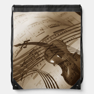 Vintage Violin and Sheet Music Drawstring Bag