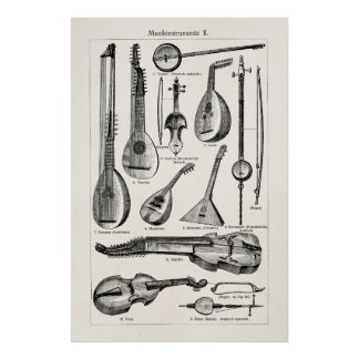 Vintage Violin Cello String Musical Instruments Poster
