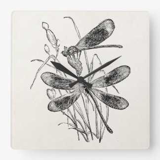 Vintage Virgin Dragonfly Personalized Template Square Wall Clock