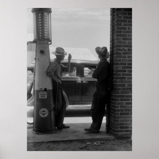 Vintage Visible Gas Pump and Car 1940s Print